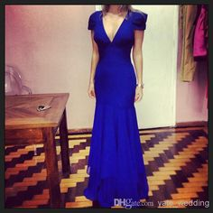 Nice Royal Blue Prom Dresses With V Neck Cap Sleeves