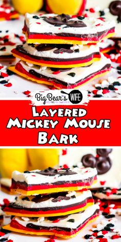 This Layered Mickey Mouse Bark is a fun Mickey Mouse inspired treat that shows off all of Mickey's signature colors! This Mickey bark is super easy to make and would be a perfect dessert or party favor for any Disney fan! Slow Cooker Recipes Dessert, Best Dessert Recipes, Fun Desserts, Easy Dinner Recipes, Delicious Desserts, Easy Meals, Chocolate Candy Melts, Chocolate Desserts, Disney Food