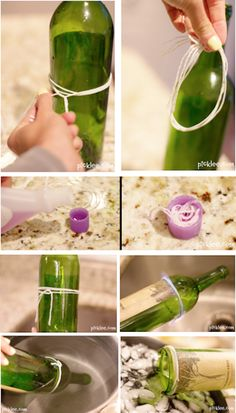 Como cortar botellas de cristal. Quitarles la boquilla para convertirlas en jarrones, en el mismo post explican como hacerles dibujos en relieve con cola caliente.