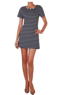 Classic stripes never go out of style, and this soft jersey short sleeve dress has a crystal embellished neckline as a feminine take on the trend.