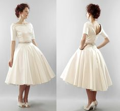 Christy  Silk duchess satin full skirt tea by AlexandraKingBridal, £1,590.00