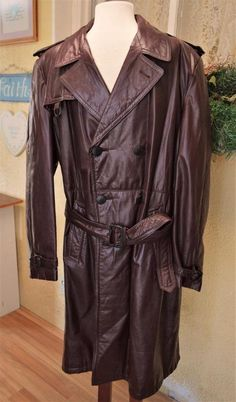 Lakeland Leather Trench Coat XL Men's Brown Belt Double Breasted Pockets VTG? #Lakeland #Trench