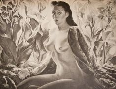 "Lady of the Tropics, c 1943-44, here ""Lenka"" painted in the nude against a backdrop of red cannas, portraying the spirit of the exotic Orient where colourful flowers and seductive charms live in a 'lotus land' of brilliant sun and extravagant vegetation. Leonora Moltema (nicknamed Lenka) a Eurasian beauty, half Dutch, half Indonesian became Tretchikoff's lover, mistress and muse, she also posed for the famous Lenka (Red Jacket), Javanese Half-Caste, and the lost Civilised Bali destroyed in…"