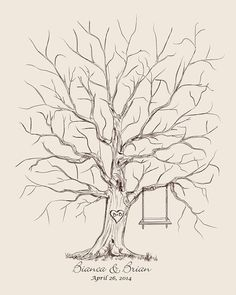 Unique Wedding Guest Book Alternative Wedding Guest book Thumb Tree Fingerprint Wedding Tree Personalized Wedding Gift 100-220 guests on Etsy, $40.00