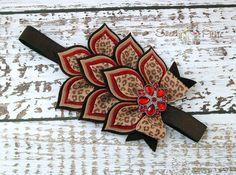 Red Brown Cheetah Leopard Headband - Baby Girl Valentine's Headband- Wool Felt Flower Headband - Leopard Print Headband - Dahlia Headband on Etsy, $21.50