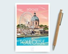 "POSTER DELIVERED ONLY RELAY POINT. Poster order will be sent an email to provide you the closest point. Displays Toulouse - ""Pepouze in Toulouse"" Format: x 42 cm Paper: Packaging in a tube for protection - sold unframed Illustrations, Graphics, France, Etsy, Deco, Poster, Poster Vintage, Digital Art, Cities"