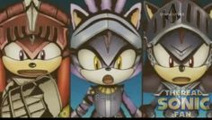 Knuckles, Blaze, and Shadow(Gawain, Percival, and Lancelot) Sonic and the Black Knight