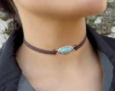 Choker Necklace Suede Choker Necklace Bohemian por Ethnicca