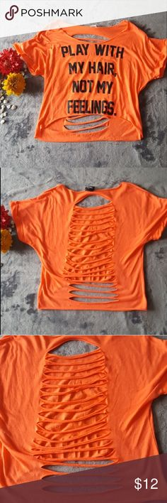Play with my hair not my feelings crop top This top is clean and never worn. The material is thin and loose. The back is completely open as shown in picture. It is stretchy. Rue21 Tops Crop Tops