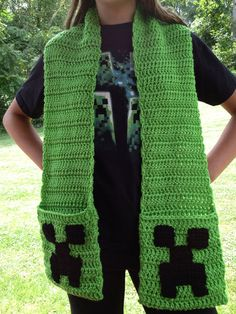 Minecraft Creeper Inspired Green Crochet by SteelCityStitcher Crochet Kids Scarf, Crochet Shoes, Crochet Scarves, Crochet Clothes, Yarn Projects, Knitting Projects, Crochet Projects, Crochet Gifts, Crochet Yarn