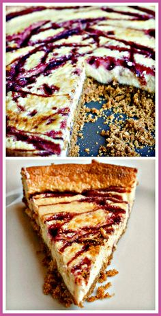 This Raspberry Ripple Cheesecake is creamy with swirls of raspberry coulis and fresh crushed berries for a deliciously fruity touch! #recipe must-try for berry lovers! @Charles Smith