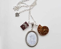 Darwin Tree of Life Science & Ammonite Fossil Necklace   15 Gifts For The Science Lovers On Your List