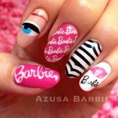 retro Barbie nails♡