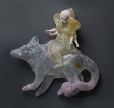Christina Bothwell Ganesha Riding on Moonshika Cast glass, ceramic, oil paint, found objects 17 x 15 x 4 Inches