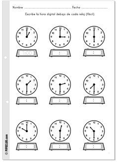 Actividad sobre las horas #horas #relojes #matemáticas #escuela #educacion