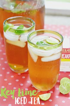 Combine the flavors of refreshing mint with citrus in this key lime iced tea recipe. Garnish with fresh mint and sliced limes for the perfect summer brew! #MeAndMyTea AD @bigelowtea