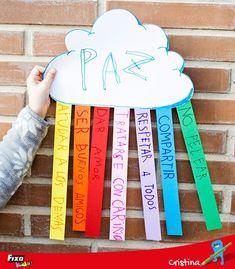 Celebra el Día de la Paz y la No Violencia con una actividad infantil divertida y didáctica.  Haremos una nube con un arco iris en el que indicar lo que significa para nosotros la PAZ  Y tiene plantilla descargable.   #IdeasFixoKids #Manualidadesparaniños #Díadelapaz Sunday School Games, Sunday School Crafts, Bible Crafts For Kids, Toddler Crafts, Noahs Ark Craft, Peace Crafts, Kids Klub, Diy And Crafts, Arts And Crafts