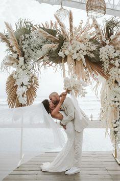 Chloe Chapman in the Pearly Blusher Veil Boho Beach Wedding, Bali Wedding, Floral Wedding, Wedding Colors, Wedding Ceremony, Dream Wedding, Ceremony Arch, Destination Wedding, Boho Wedding Flowers