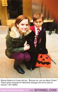 little boy dressed like harry potter meets Emma Watson | for bel: Emma Watson tells a little boy dressed as Harry Potter...