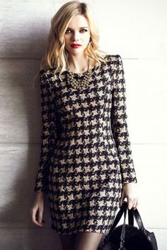 Coffee Houndstooth Pattern Bodycon Dress