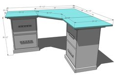 copied: Just found plans for the top of that desk I pinned earlier. I think I found my 1st project. Going to use a leg from IKEA for the back leg and file cabinets from craigslist.