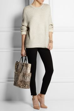 Stella McCartney   Metallic coated cotton-blend sweater   Frame Denim   Le Skinny de Jeanne mid-rise skinny jeans   Christian Louboutin   Trotter 100 leather and suede pumps   Jimmy Choo Blare leather-trimmed studded python tote 