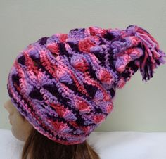 Variegated Slouchy Hat - Crocheted Tassel Slouchy Hat - Multicolored Crochet Hat - Crochet Hat - Fall and Winter Accessories -by lanesamarie by lanesamarie on Etsy