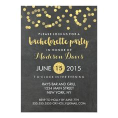 Faux Gold Glitter Chalkboard Bachelorette Party Card