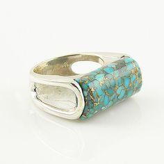 Blue Copper Turquoise - Fancy Cut - Sterling Silver Ring - keja jewelr – Keja Designs Jewelry