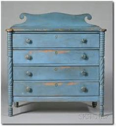 a wave topped blue painted chest of drawers.the type of dresser you sometimes see in the little attic rooms of the inns. Primitive Furniture, Primitive Antiques, Country Furniture, Country Primitive, White Furniture, Antique Furniture, Painted Furniture, Gothic Furniture, Furniture Plans