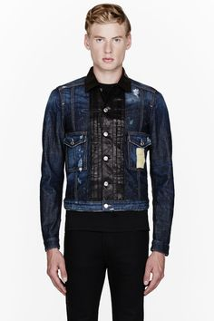 DSQUARED2 //  Blue denim distressed leather-placket jacket  32148M030001  Long sleeve denim jacket in indigo blue. Fading and distressing throughout. Spread collar and button placket in buffed black leather. Button closure and flap pockets at front. Logo patch at front flap pocket. Cinch belts at side hems. Contrast stitching in tan. Single-button barrel cuffs. Body: 98% cotton, 2% elastane. Trim: 100% calf leather. Hand wash. Made in Italy.  $1800 CAD