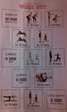 Jessica Simpson's Daisy Duke Workout. In a visual. Suggests doing 5x per week.