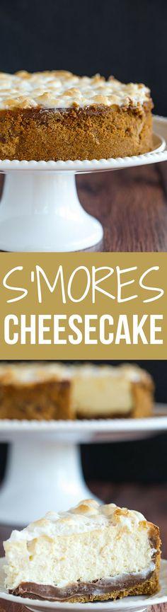 S'mores Cheesecake - The ultimate summer dessert! Graham cracker crust…