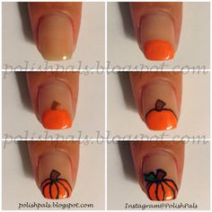 Okay guys, I freaking adore pumpkins and you all know that.) So I decided it was high time to redo my pumpkin nail art tutorial so that y. Cute Nail Art, Nail Art Diy, Diy Nails, Cute Nails, Fall Nail Art Designs, Halloween Nail Designs, Halloween Nail Art, Pumpkin Nail Art, Thanksgiving Nail Art