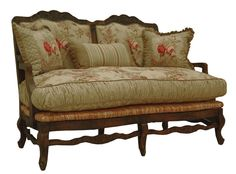 """""""Herbe Rose"""" green floral settee from Victorian Trading Co. Victorian Furniture, Vintage Furniture, Reproduction Furniture, Provence Style, Dream Furniture, French Country Decorating, Country French, French Interior, Beautiful Bedrooms"""