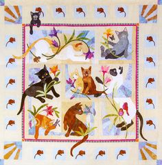 """Cat Acatemy"" by Karen Brow at Java House Quilts. BOM as seen at Stitchin' Heaven"