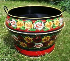 Barge-Ware-Art-Log-Coal-BUCKET-Hand-Painted-Planter-Pot-Canal-Narrowboat-Patio