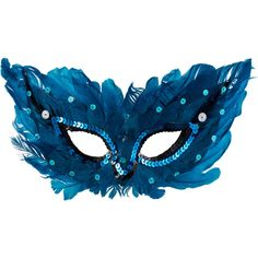 CARNIVAL #BLUE GREEN FEATHER MASQUERADE EYE MASK ON  STICK FANCY DRESS ACCESSORY