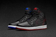 Air Jordan 1 silhouette done up with premium leather uppers, detailed respectively with red and blue accents. As each pair is worn away, the shoe becomes an individual statement.