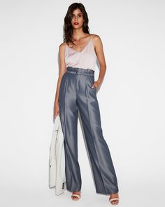 d616ca796c High Waisted Belted Tie Waist Wide Leg Dress Pant | Express | Fashion |  Office Outfit | Chic | Stylish