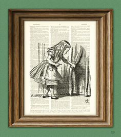 Through the Door - Alice in Wonderland : upcycled vintage dictionary page book art print