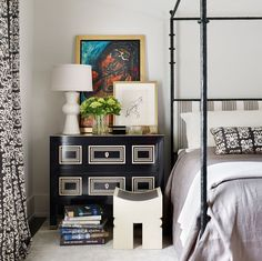 This bedroom invokes a worldly, well-traveled owner. It also shows masculine and feminine elements mixed together for a collected and layered look. Image: Emily Followill