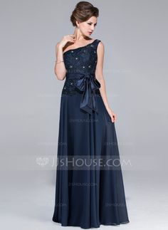 A-Line/Princess One-Shoulder Floor-Length Chiffon Lace Mother of the Bride Dress With Beading Bow(s) (017025451) - JJsHouse
