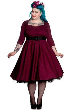 Hell Bunny Women's Plus Dark Belted 3/4 Sleeves Polka Dot Flare Dress