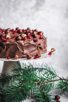 This vegan chocolate hazelnut cake is perfect for holiday baking, birthdays, or any time you want chocolate cake! Rich, decadent, but a tiny bit healthy. Coconut Milk Chocolate, Chocolate Hazelnut Cake, Vegan Chocolate, Dessert Chocolate, Vegan Dessert Recipes, Vegan Sweets, Christmas Desserts, Christmas Treats, Brze Torte