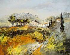 Peinture Huile sur Toile au couteau / Manuel RUBALO Abstract Landscape, Landscape Paintings, Landscapes, Modern Impressionism, Provence, Old Master, Tuscany, Istanbul, Canvas