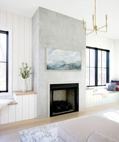 Concrete Fireplace, Brick Fireplace, Fireplace Ideas, Fireplace Update, Concrete Walls, Fireplace Remodel, Modern Fireplace, Concrete Effect Paint, Faux Fireplace Mantels