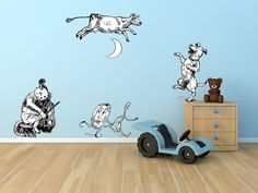 Perfect for a Nursery! ^_^ The Cat and The Fiddle, The Cow Jumped Over The Moon- Wall Decal Set