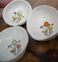 retro mushrooms, choose a design, miniature ceramic bowls, home decor, ring dishes, odds and ends, kitchen pottery  elyciacamille.etsy.com