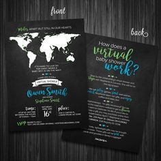 Life as a fox long distance baby shower long distance baby shower chalkboard worldmap virtual shower invitation digital file by postersimplicity on etsy gumiabroncs Image collections